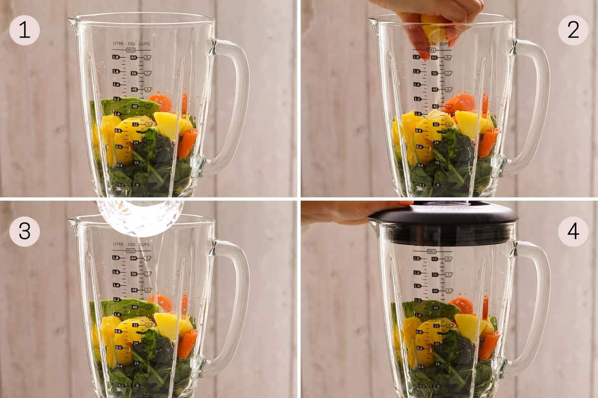 collage showing how to add ingredients to make a broccoli smoothie