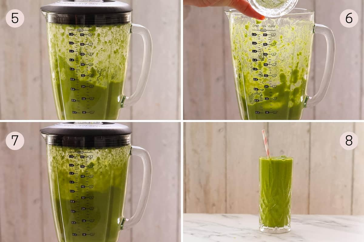 collage showing how to mix together a broccoli smoothie