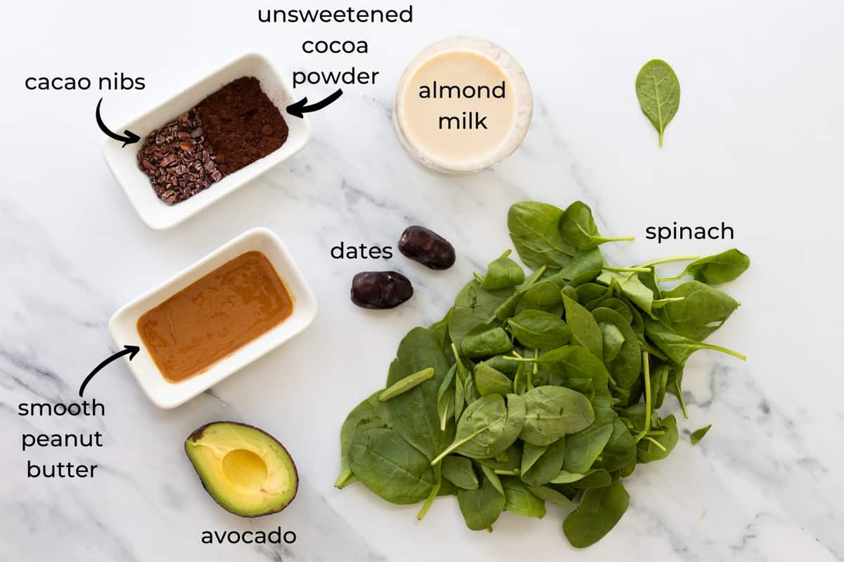 ingredients needed to make chocolate peanut butter smoothie