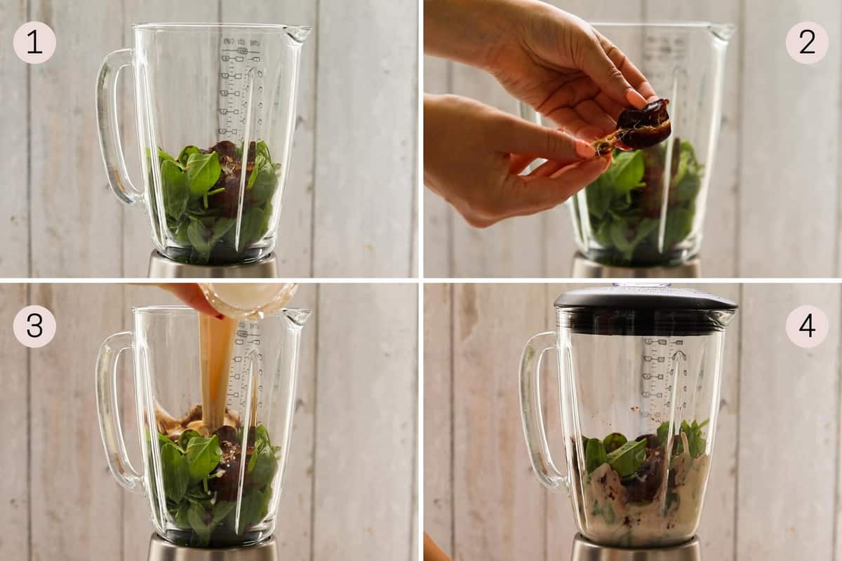 collage showing how to make a chocolate peanut butter smoothie