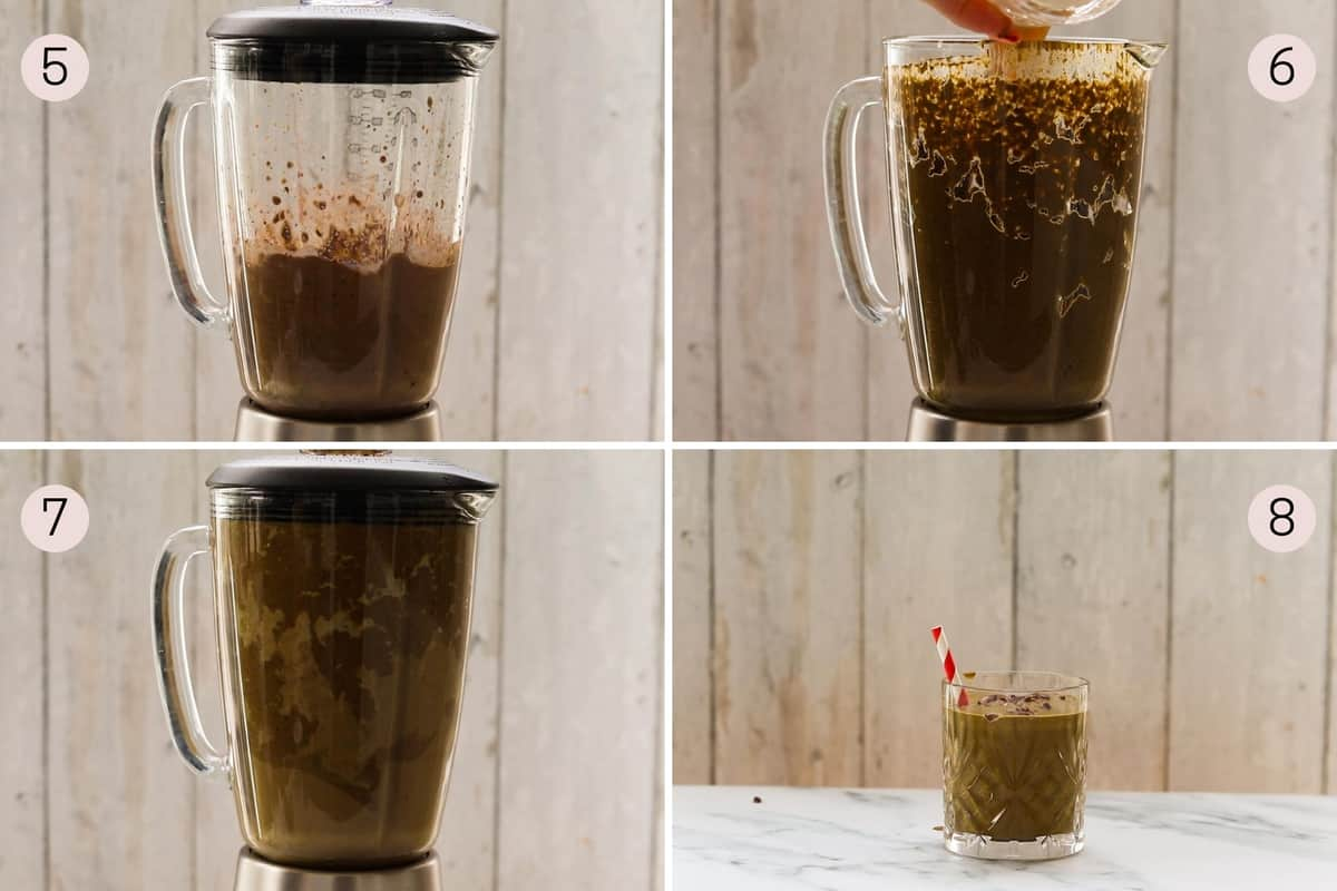 collage showing how to make and serve a chocolate peanut butter smoothie