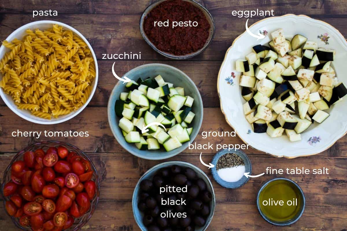 ingredients needed to make red pesto pasta