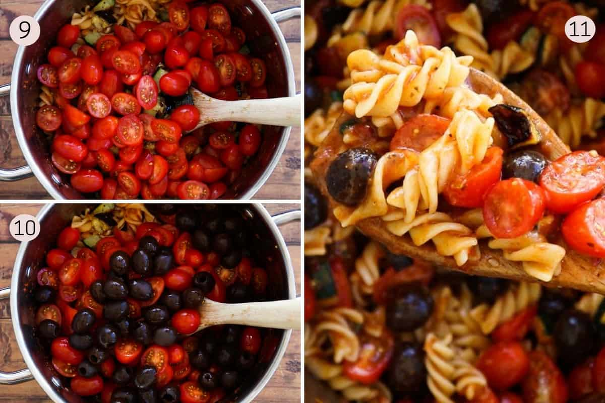 collage showing how to add tomatoes and olives to pasta