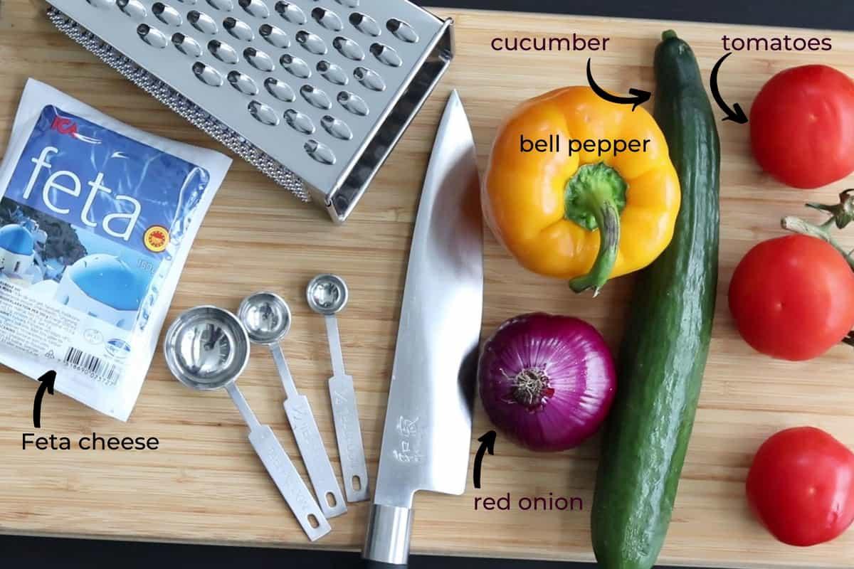 ingredients needed to make shopska salad
