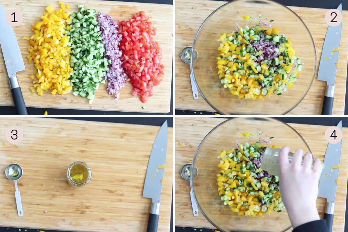 collage showing how to combine ingredients for shopska salad before dressing with vinaigrette