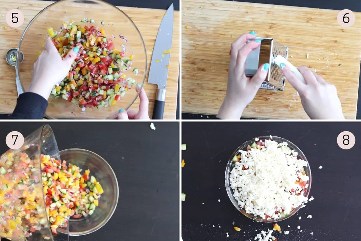 collage showing how to add feta cheese to shopska salad