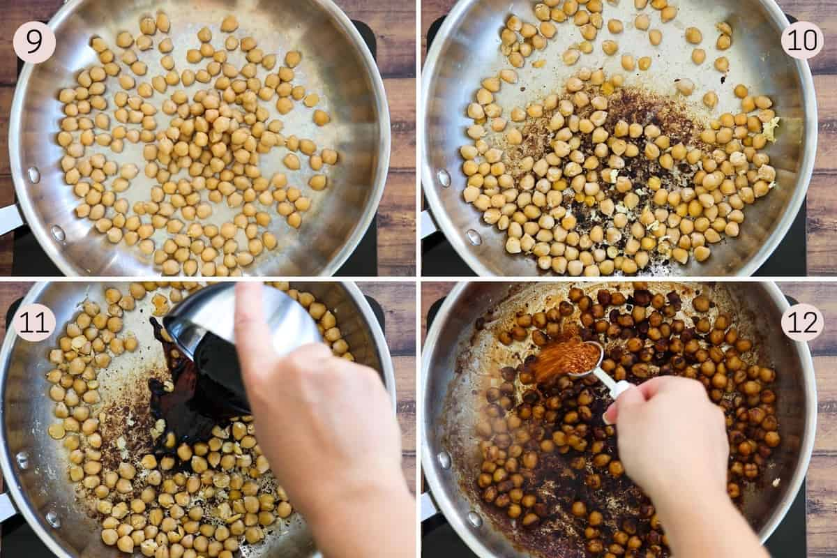 collage showing how to make gyoza chickpeas