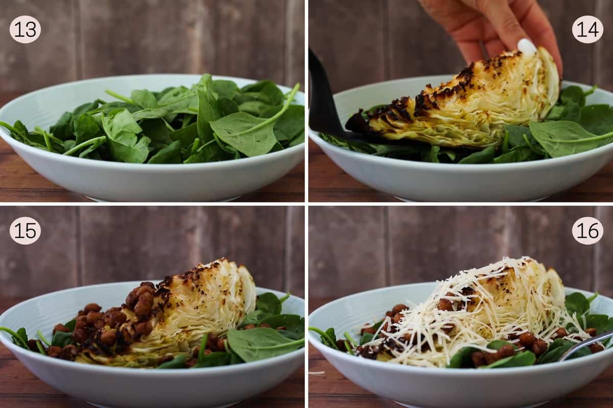 collage showing how to make a sweetheart cabbage salad