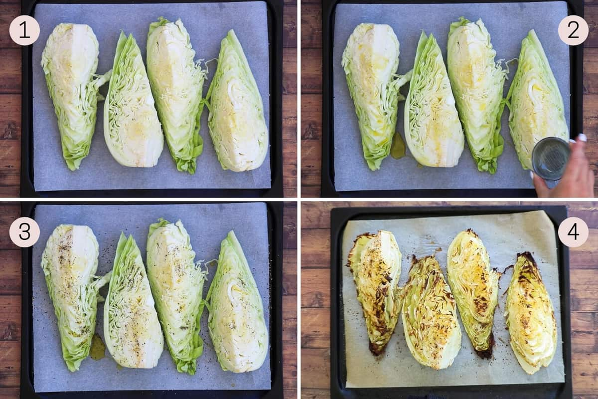 collage showing how to prep sweetheart cabbage for roasting and what it look like after roasting