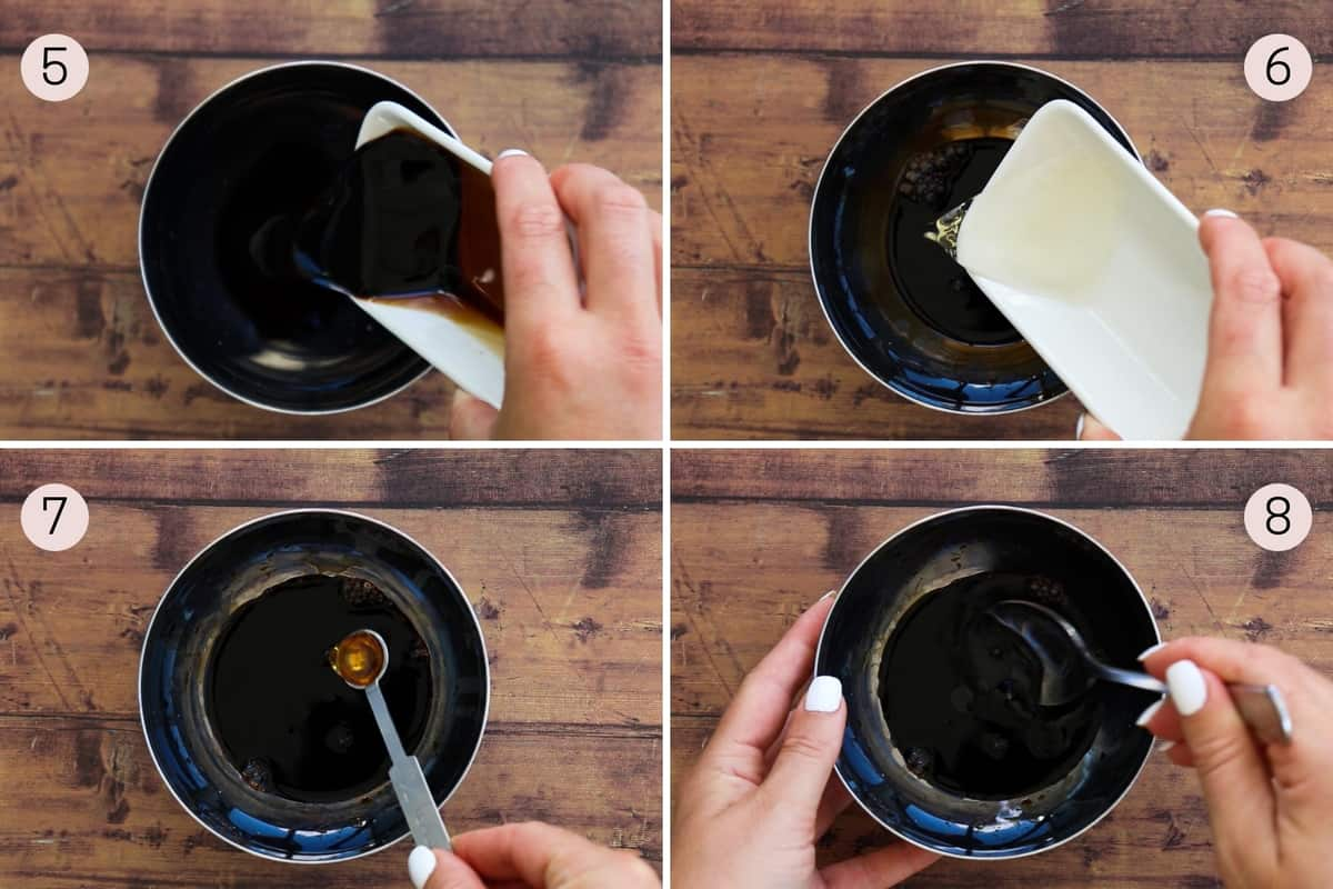 collage showing how to make gyoza sauce