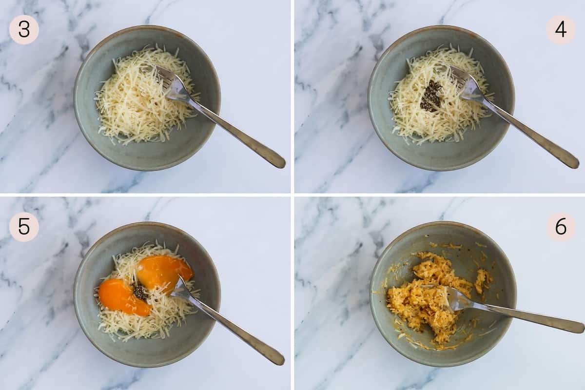 collage showing how to mix together cheese, egg yolks and black pepper for carbonara
