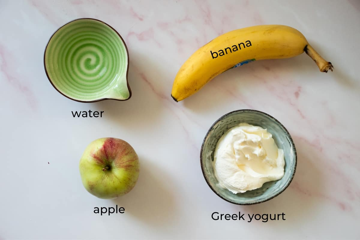 ingredients needed to make an apple banana smoothie