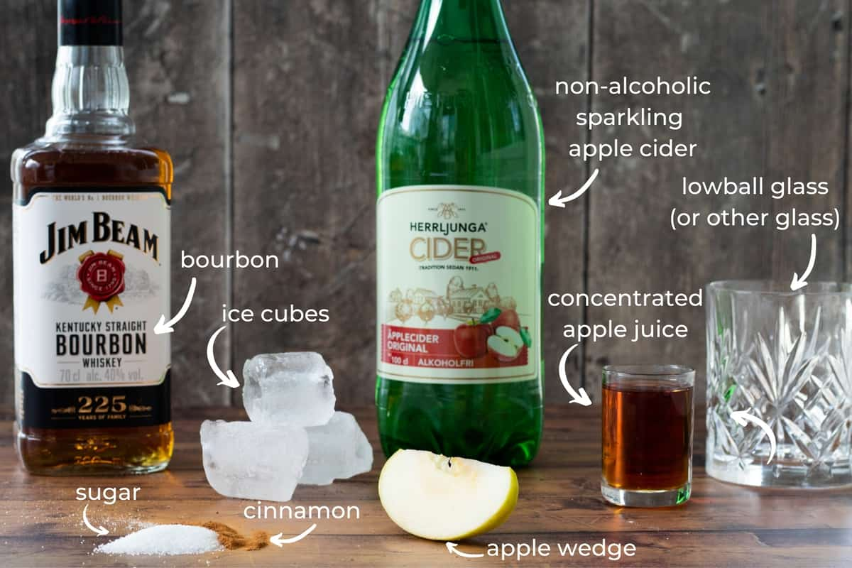 ingredients needed to make an apple cider cocktail with bourbon