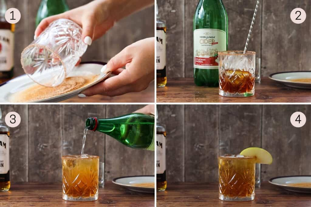 collage showing how to make an apple cider cocktail with bourbon