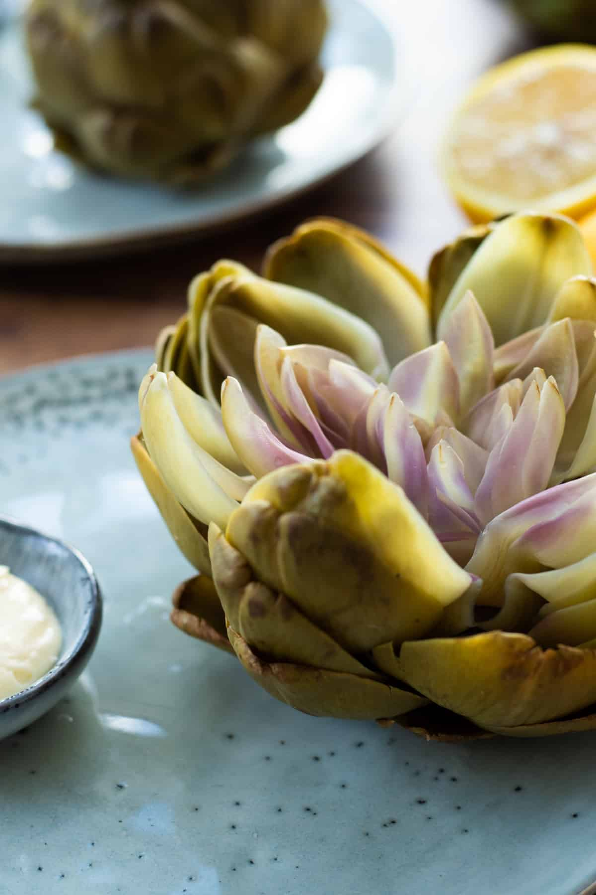 close up side view of a boiled artichoke on a blue plate