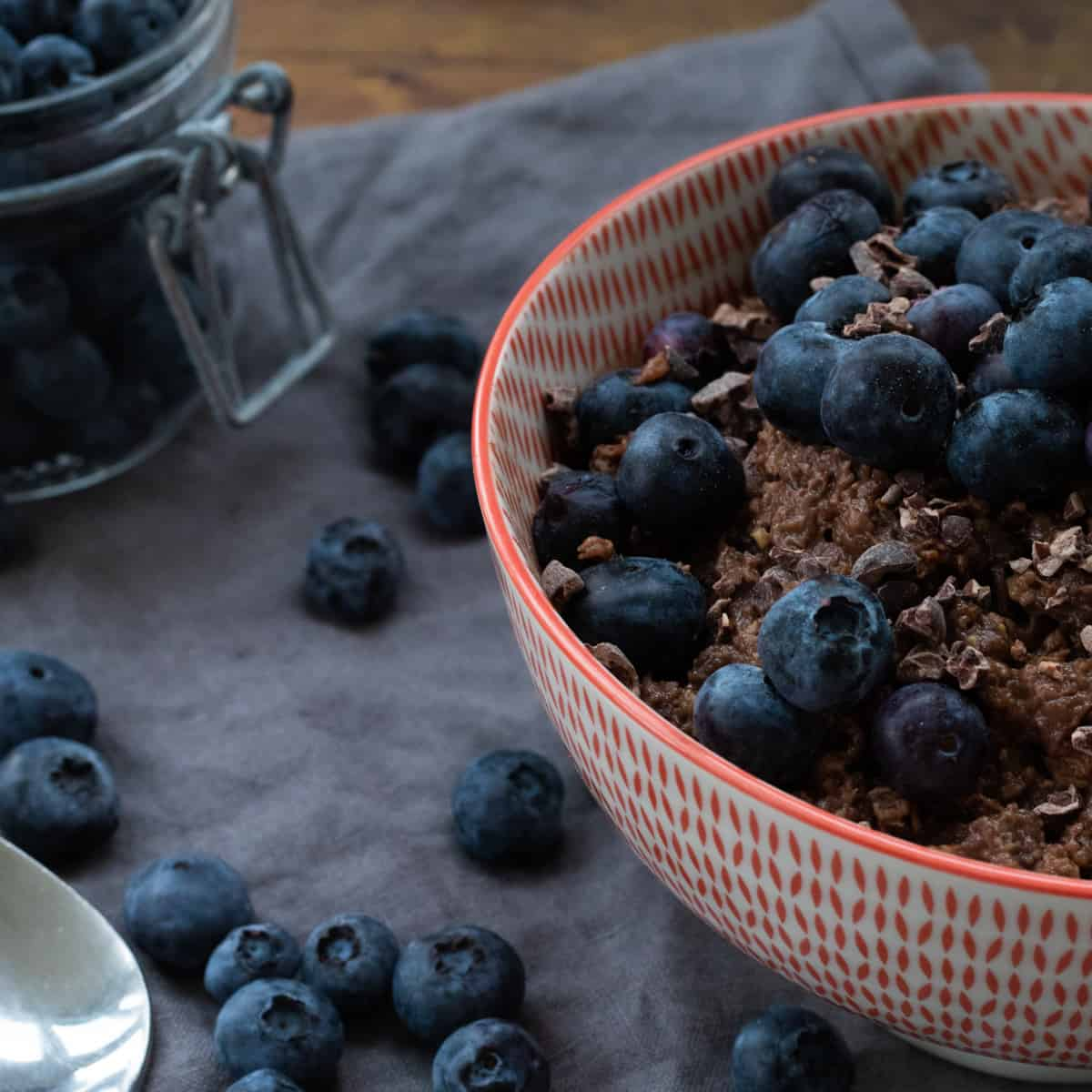 side view of a bowl of chocolate oatmeal topped with blueberries