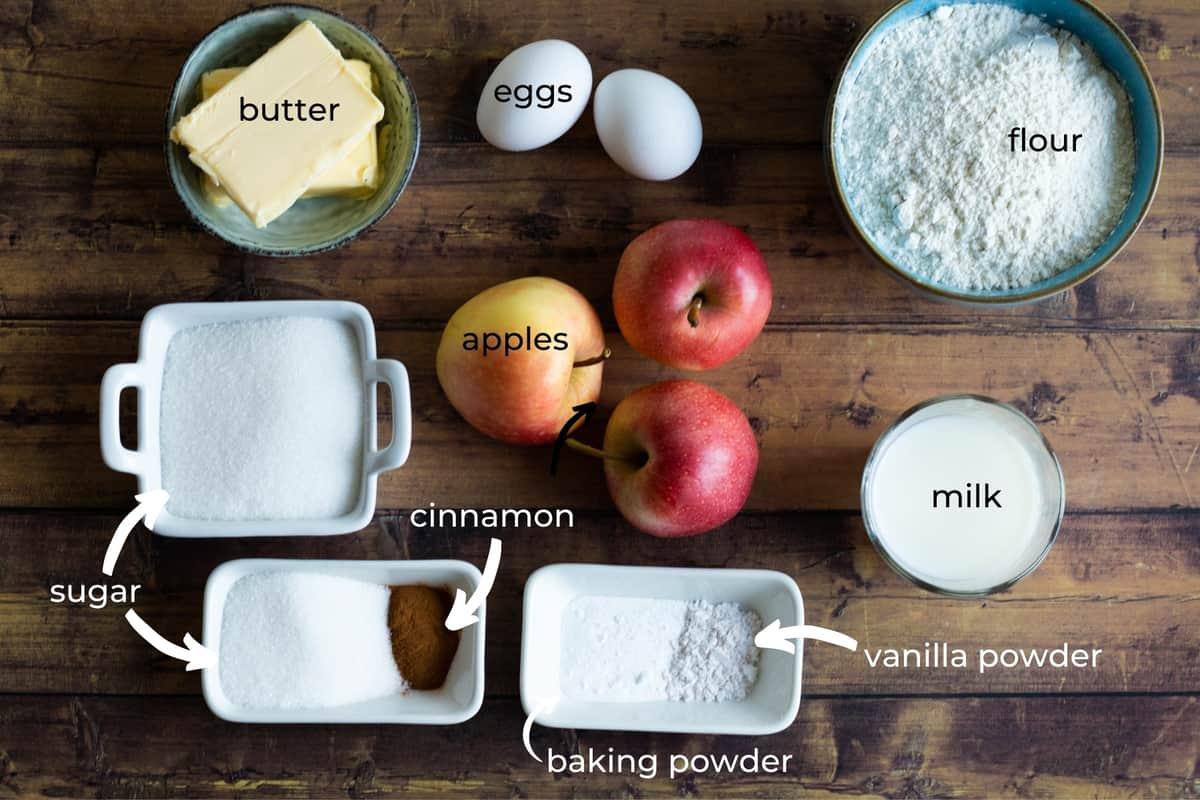 ingredients needed to make cinnamon apple muffins