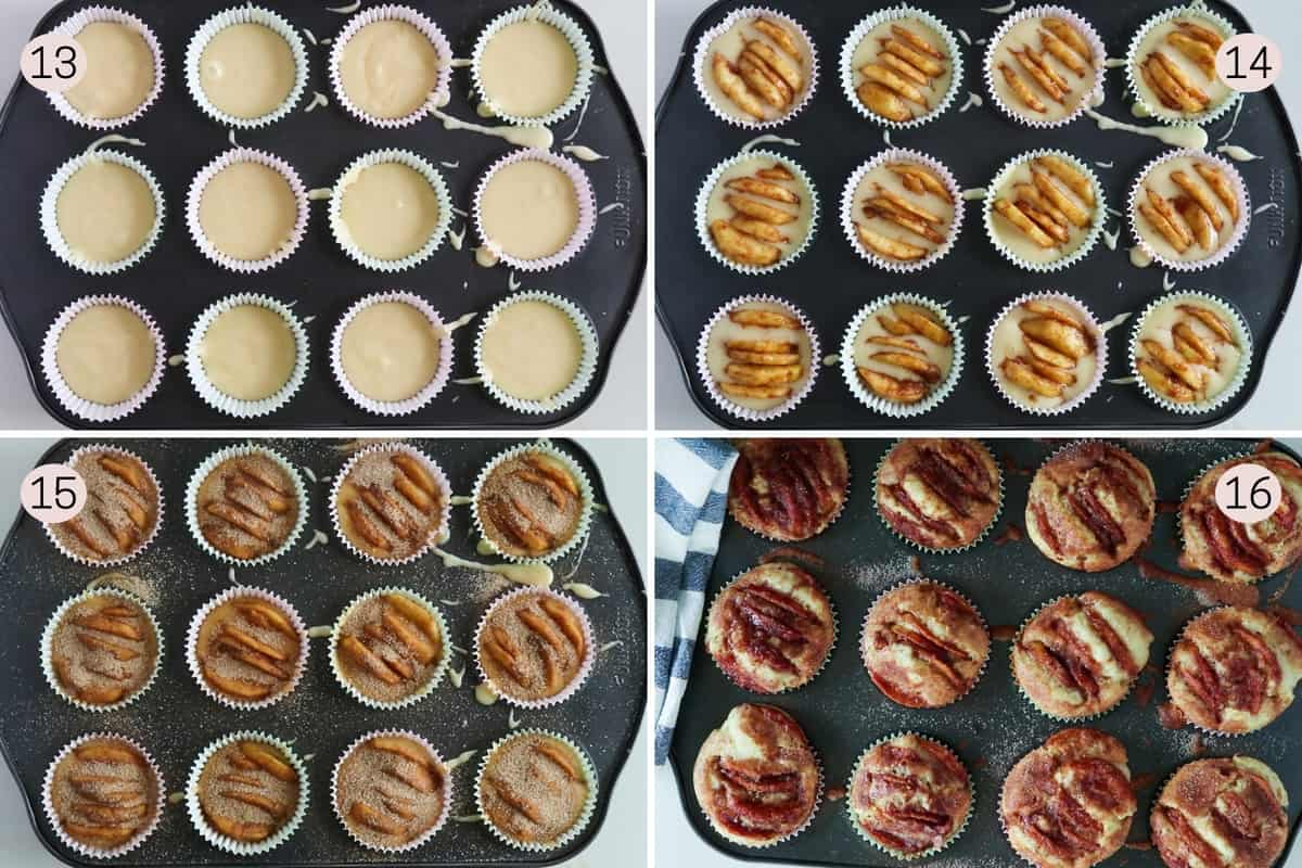 collage showing how to top cinnamon apple muffins and what they look like before and after baking