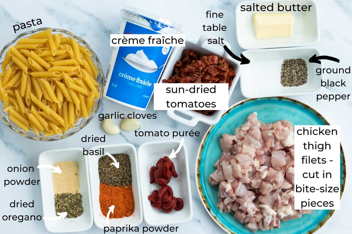 ingredients needed to make creme fraiche pasta