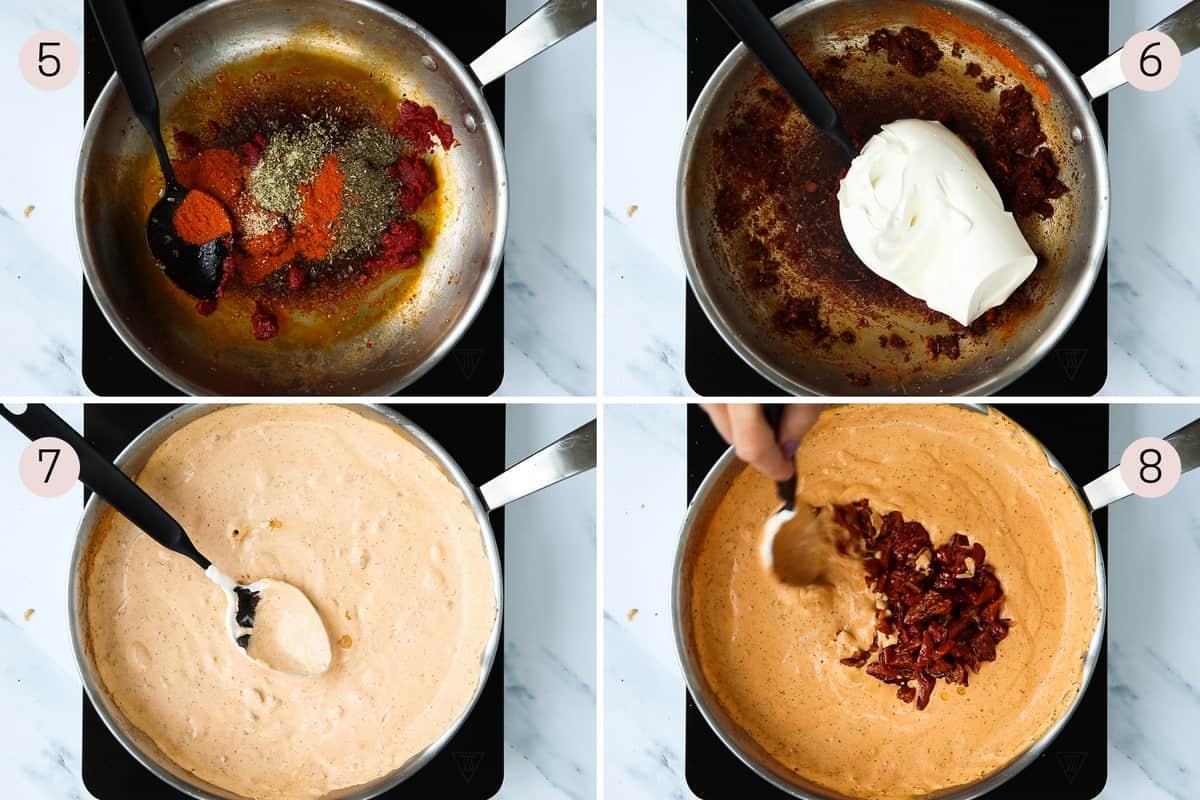 collage showing how to make crème fraîche pasta sauce