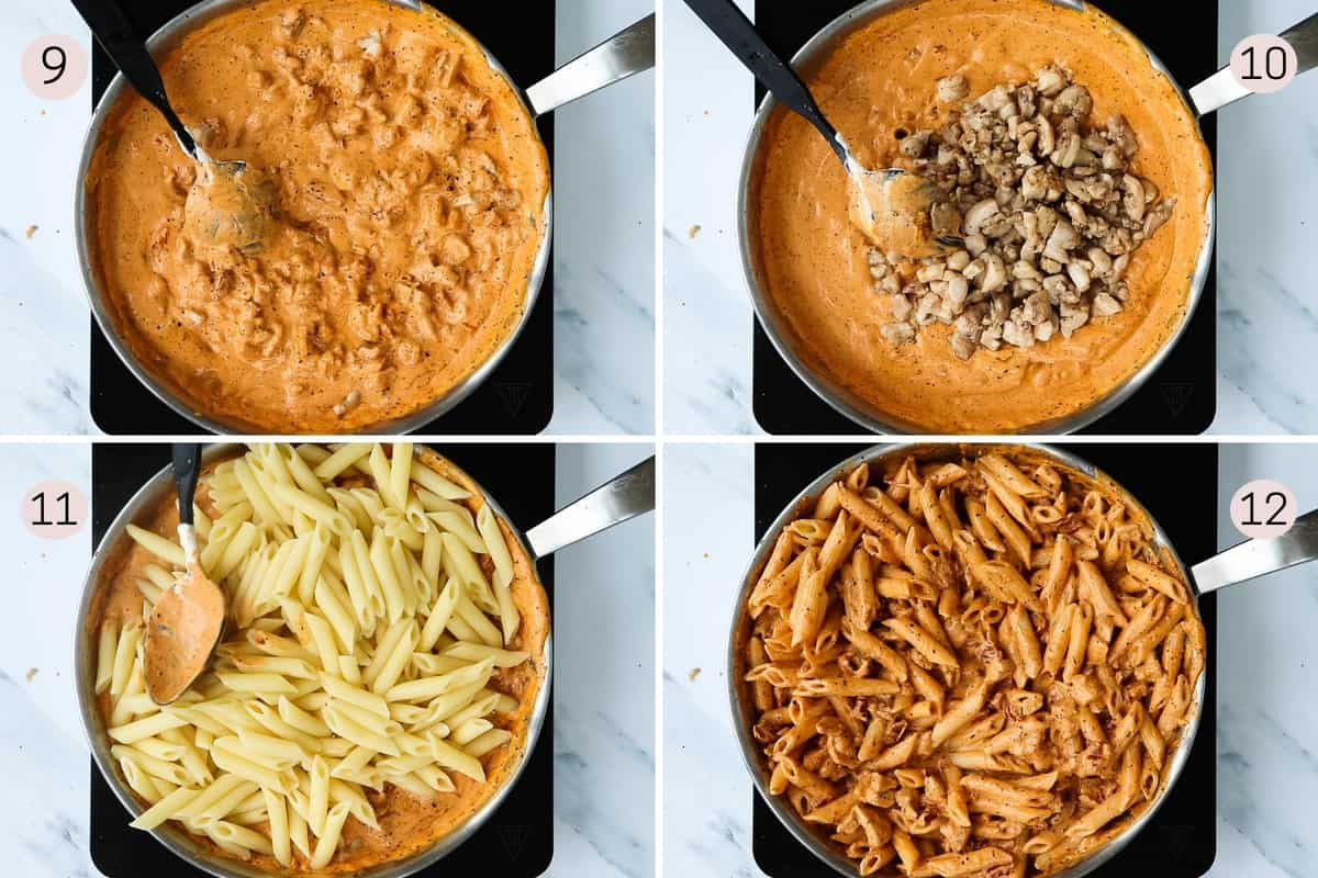 collage showing how to mix pasta sauce with chicken and pasta