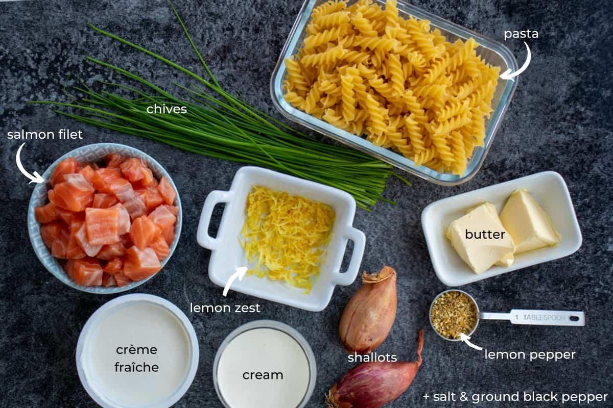 ingredients needed to make crème fraîche salmon pasta