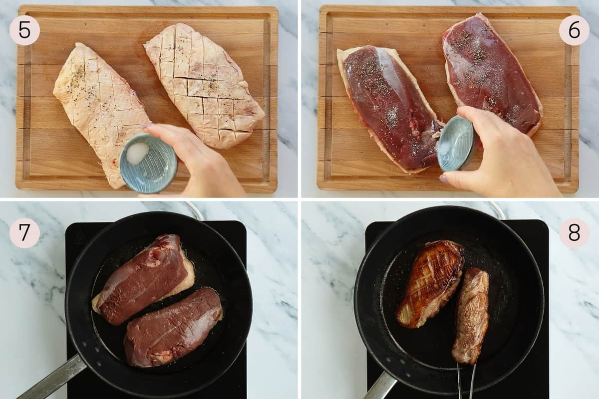 collage showing how to season duck before rendering off the fat and searing