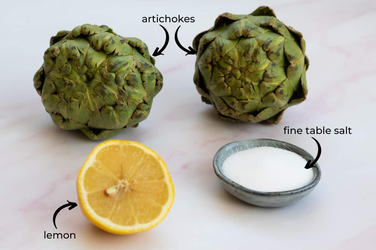 ingredients needed to make boiled artichokes