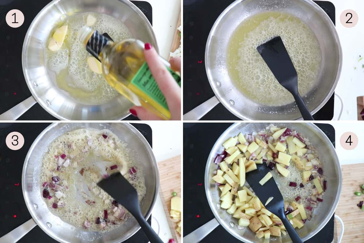 collage showing how to fry onion and potatoes in butter and olive oil
