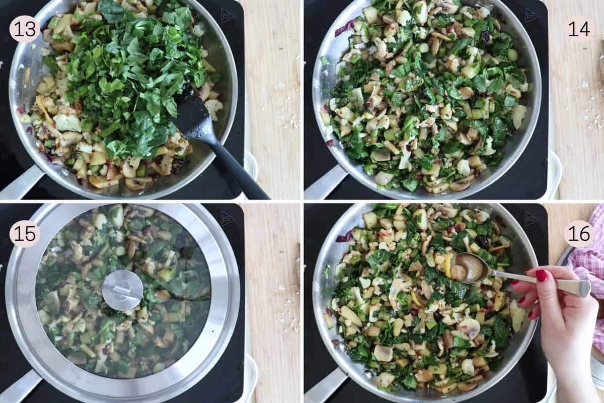 collage showing how to add spinach and parsley before covering for a few minutes