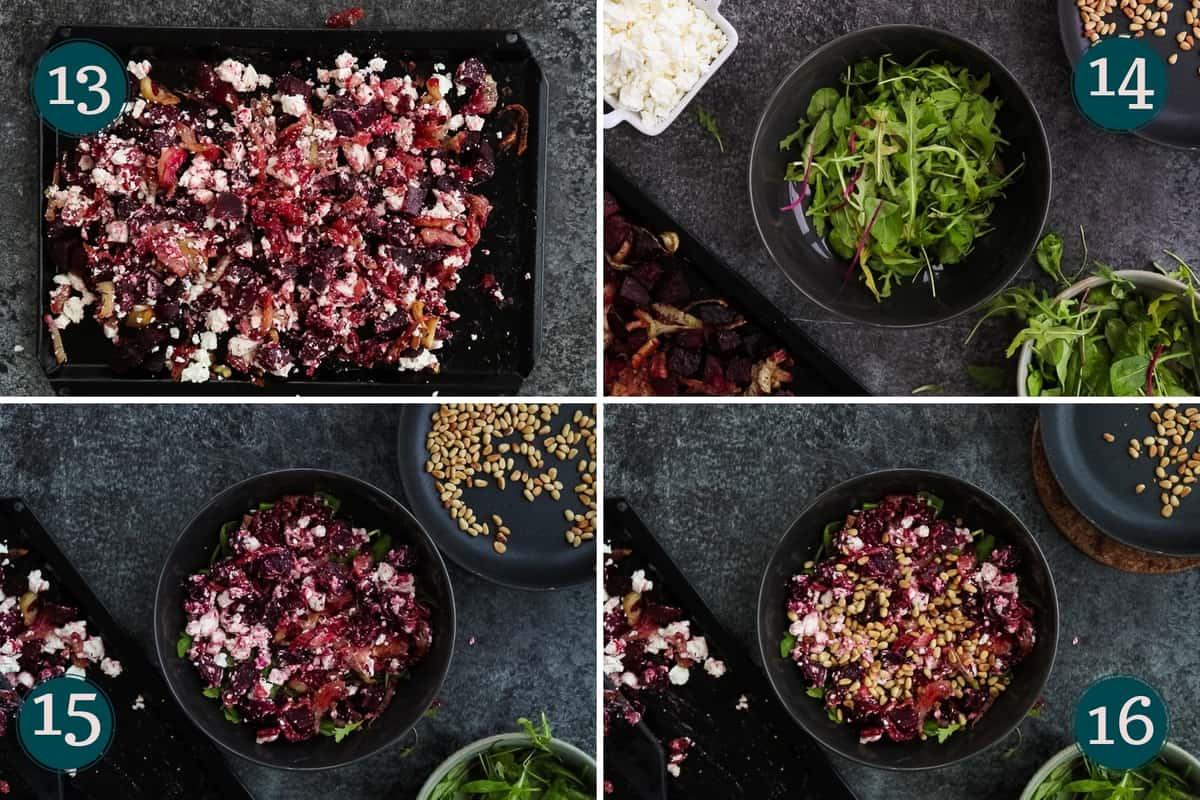 collage showing how to put the salad together