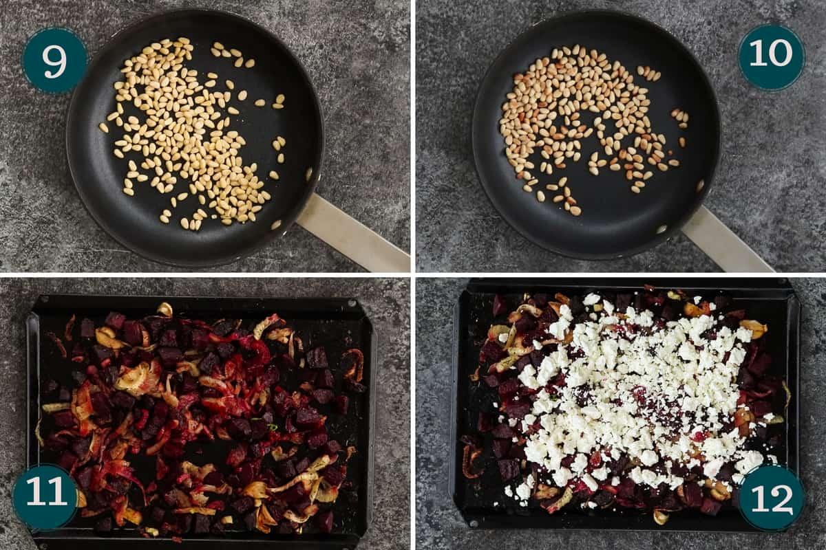 collage showing how to roast pinenuts and mix beets with feta cheese