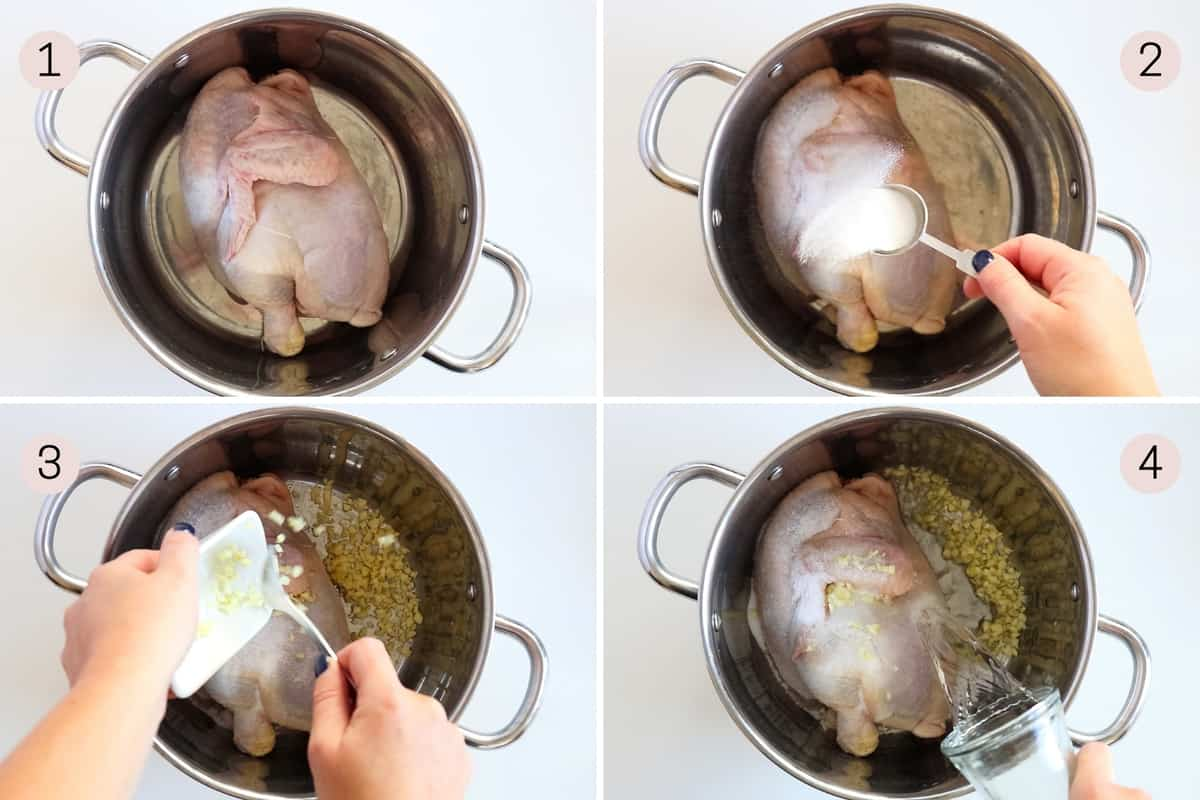 collage showing how to cook half a bone-in chicken