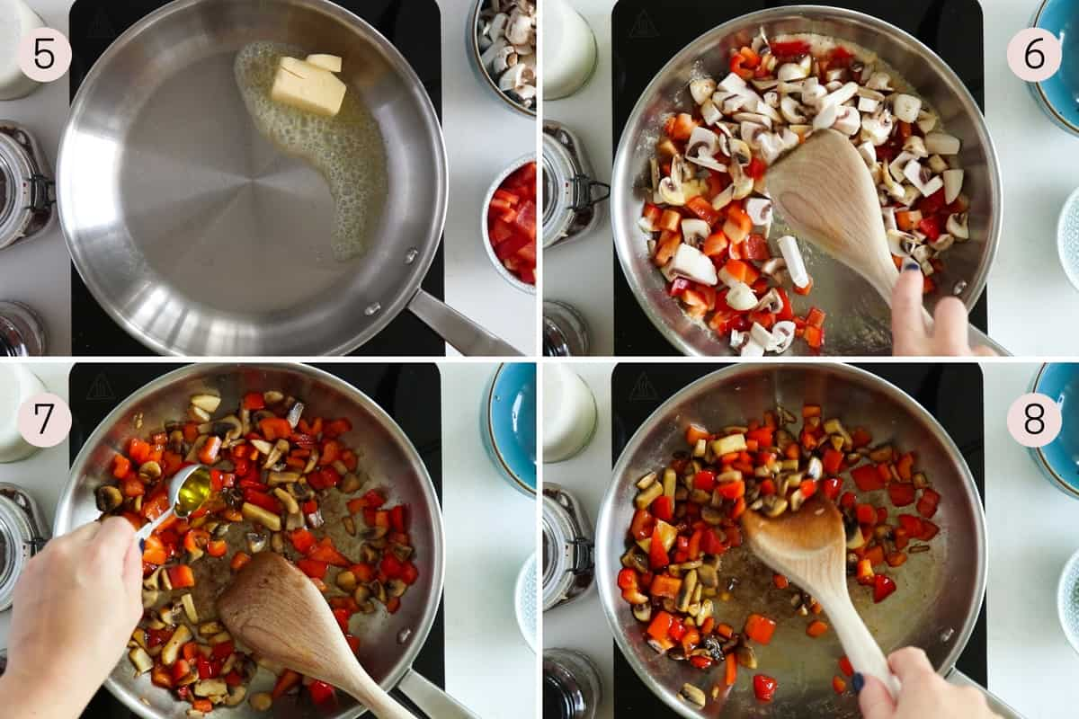 collage showing how to fry red bell pepper with mushrooms in butter