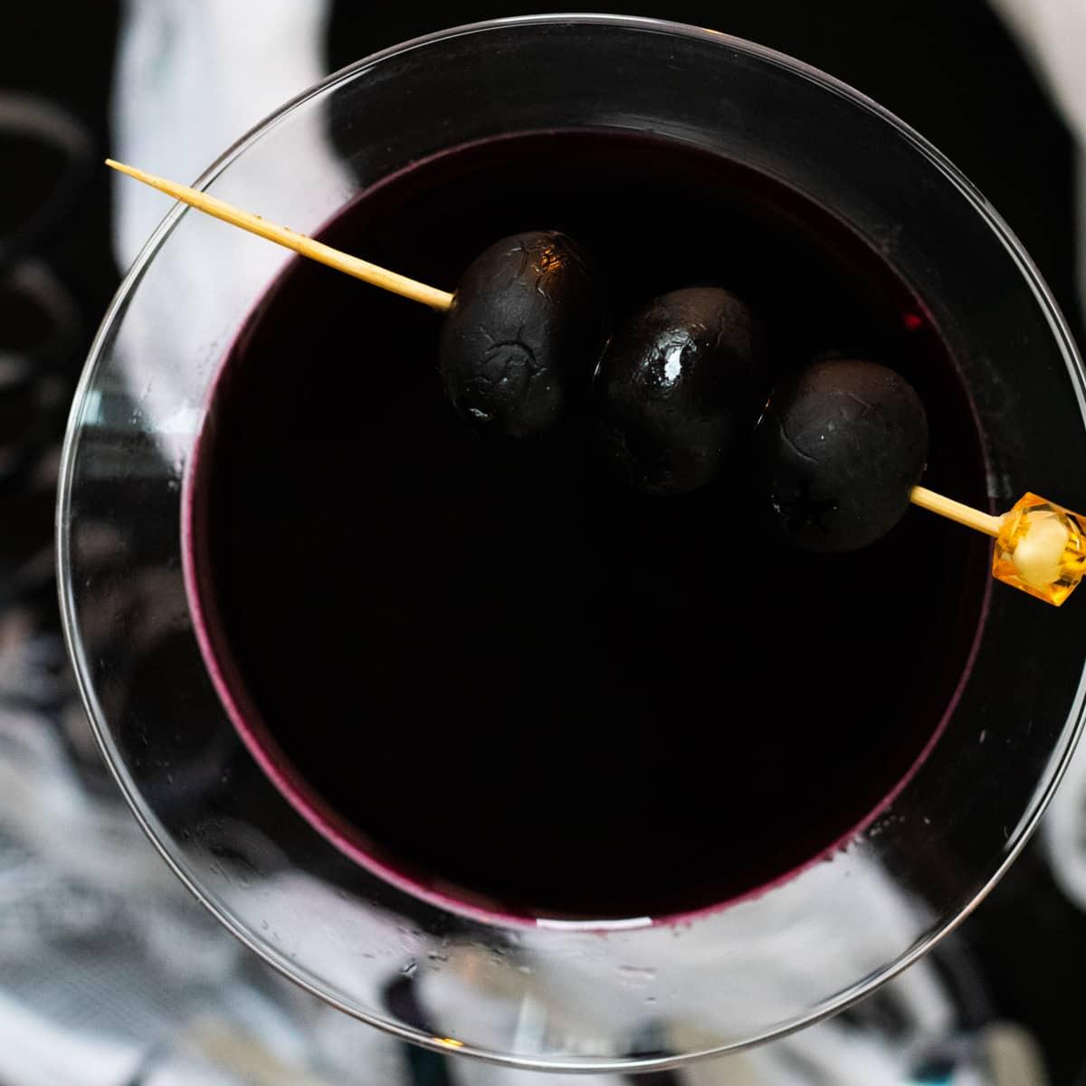 top down view of black widow martini