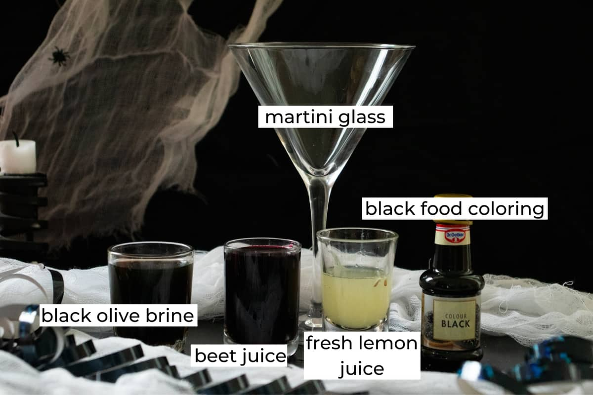 ingredients needed to make a black widow martini