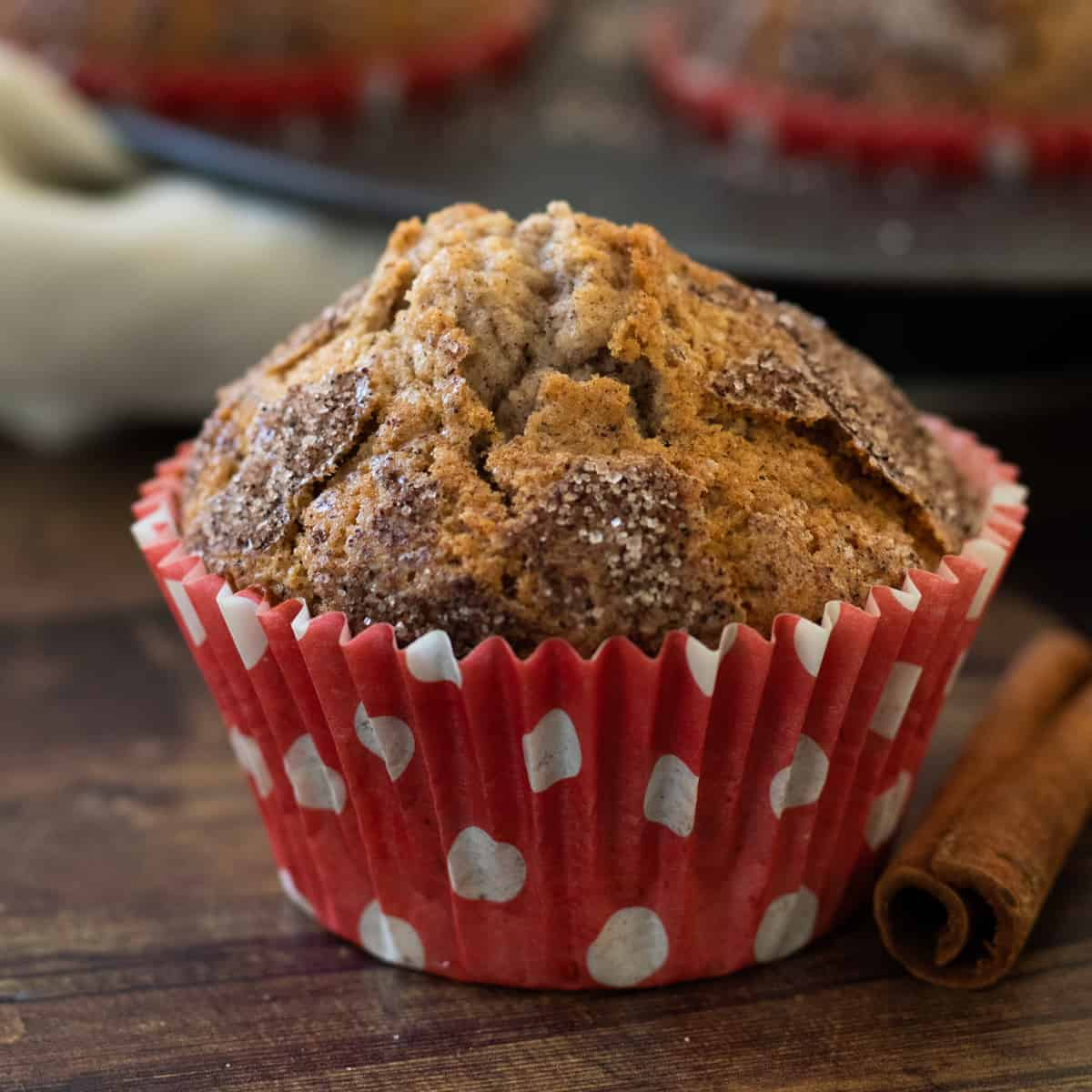 a cinnamon muffin cupcake in front of a tin full