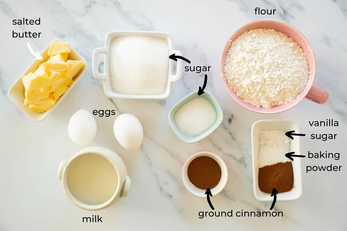 ingredients needed to make cinnamon muffins