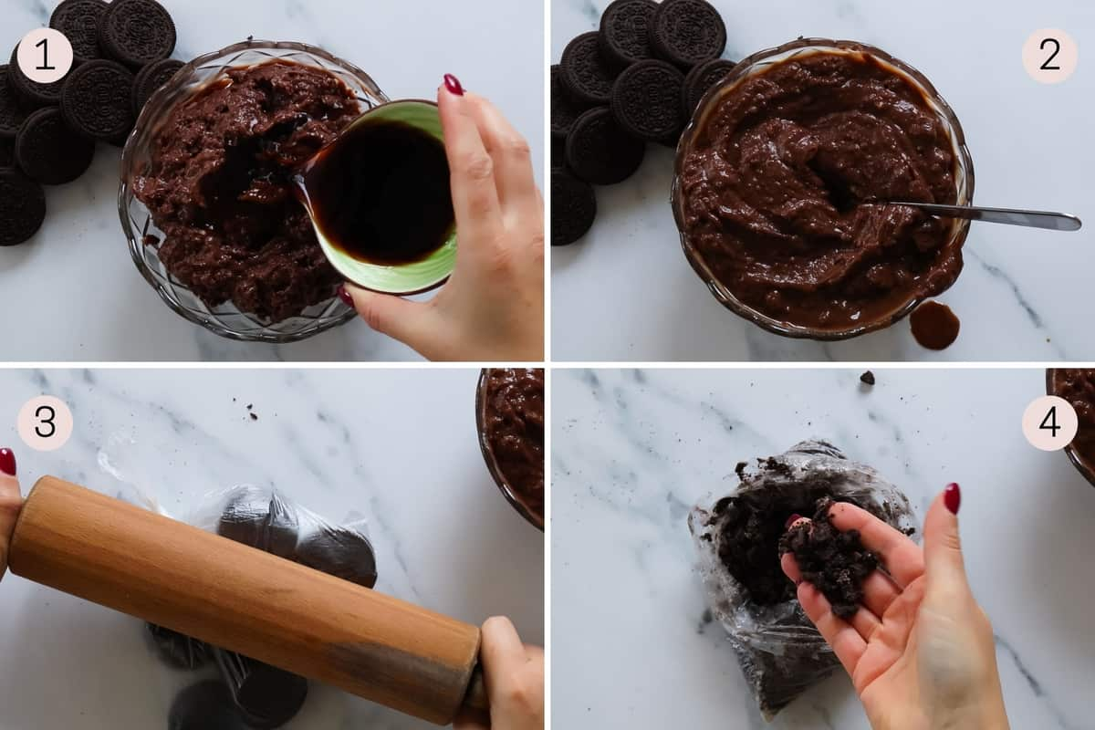 collage showing how to prep dessert dirt