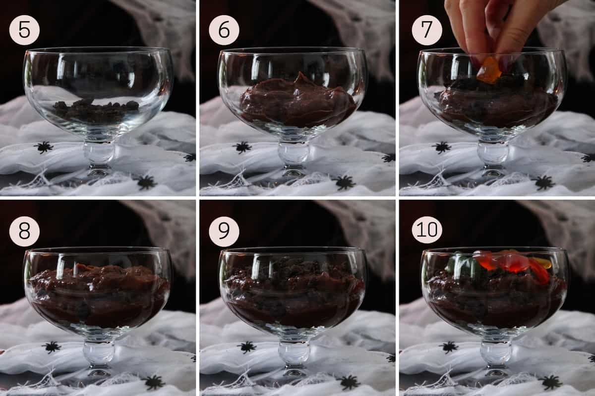 collage showing how to make dessert dirt