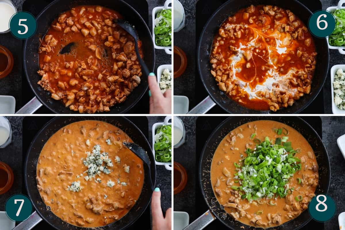 collage showing how to make buffalo chicken sauce