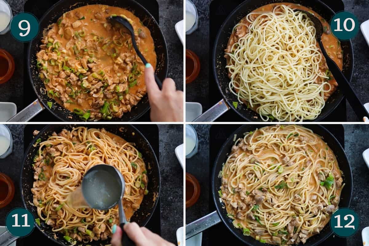 collage showing how to add pasta to buffalo chicken sauce