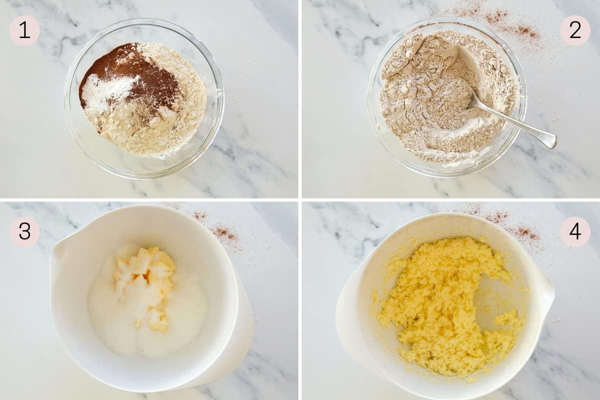 collage showing how to mix dry ingredients and butter and sugar