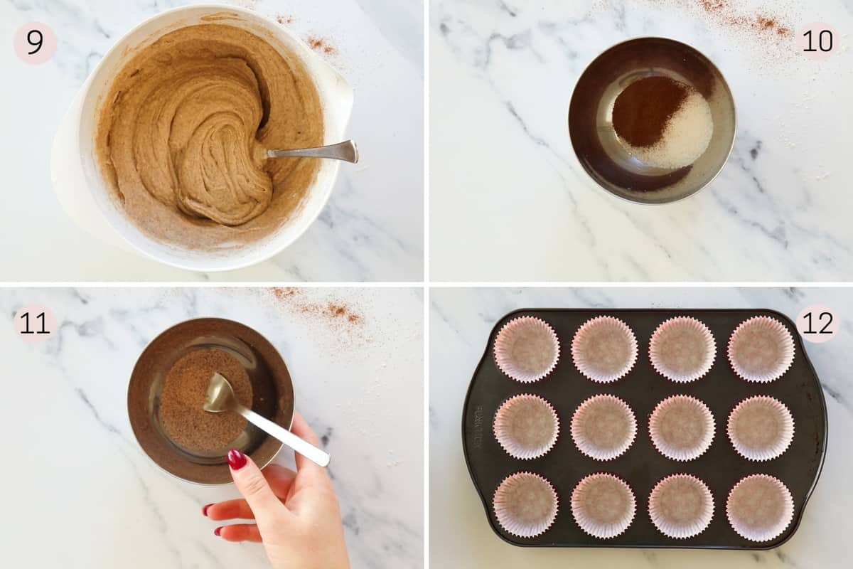 collage showing how to mix cinnamon sugar