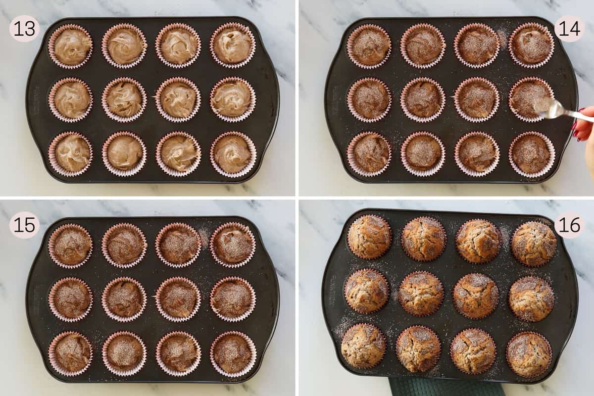collage showing how to prep cinnamon muffins before baking and what they look like after baking