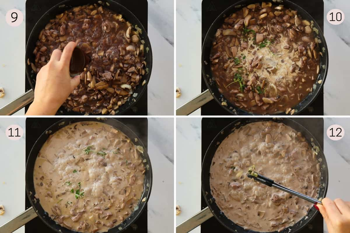 collage showing how to add stock and cream to sauce