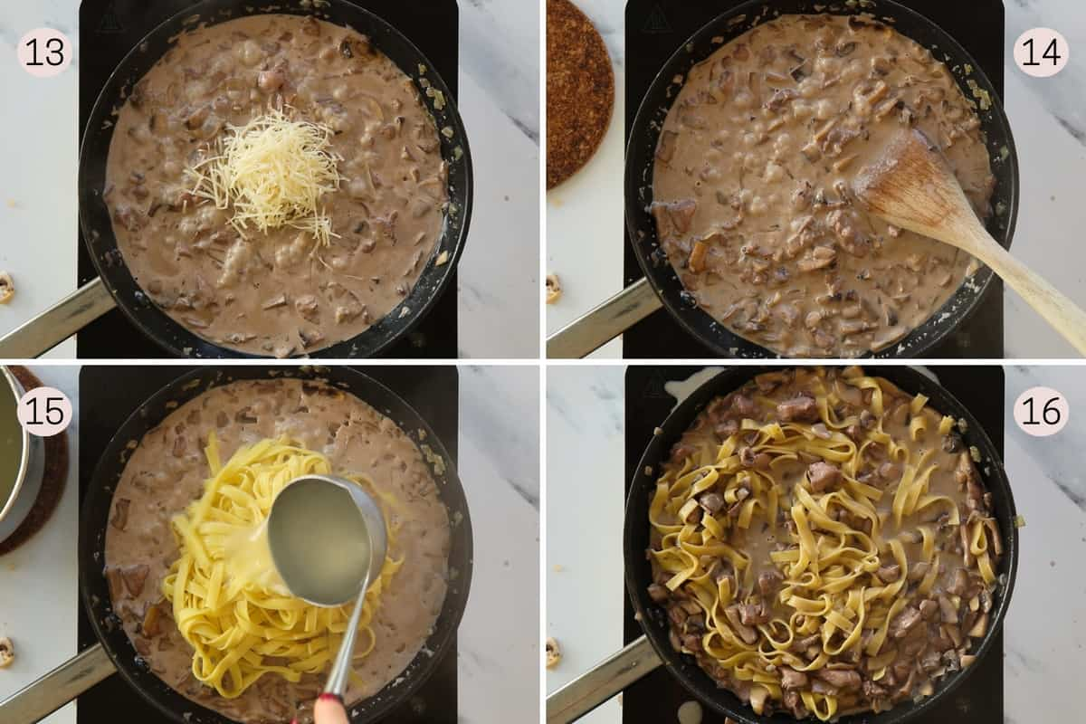 collage showing how to finish sauce and add pasta