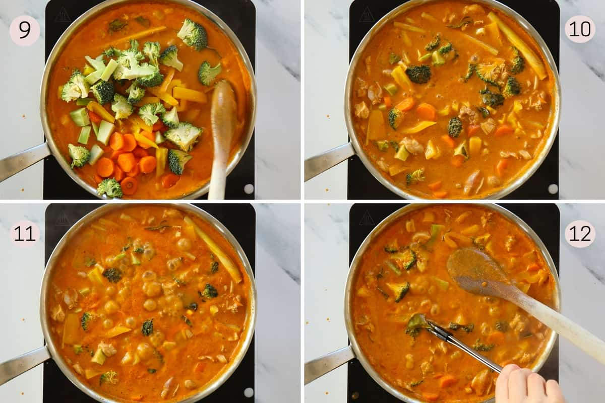 collage showing how to add veggies to soup