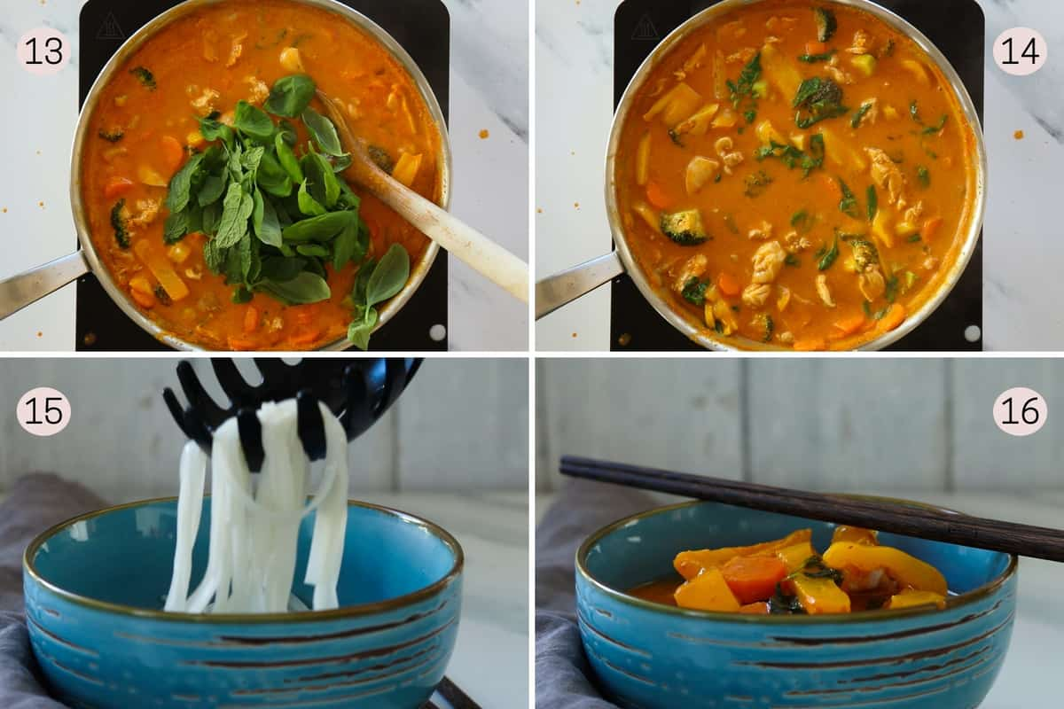 collage showing how to finish spicy chicken soup with herbs before pouring over noodles