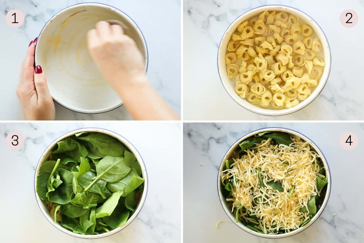 collage showing how to layer ingredients for tortellini al forno
